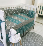 Grey White And Aqua Arrows And Deers Baby Cot Bumper And Quilt Set