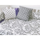 Beautiful Baby Girl Purple And Grey Damask Spots Bumper Quilt Set