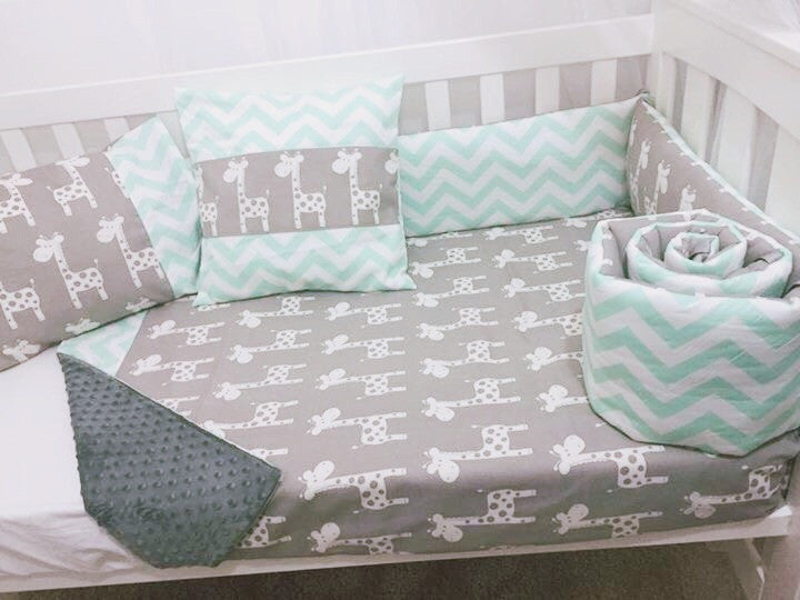 Mint And Grey Giraffe Chevron Baby Cot Bumper And Quilt