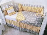Yellow And Grey Giraffe Chevron Baby Cot Bumper And Quilt Set