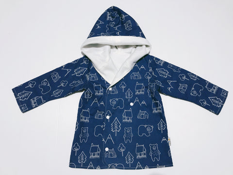 Navy and White Bear in Woods Fully Lined Hooded Jacket