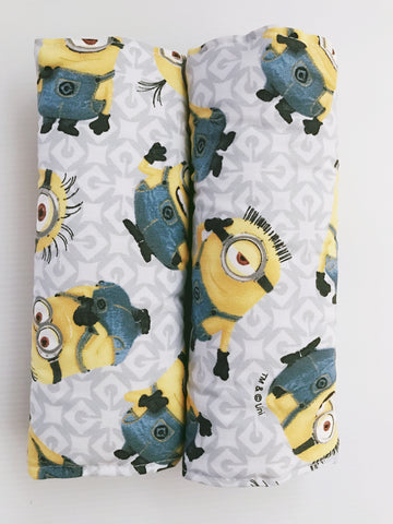 Minions On Grey Baby Seat Belt Covers