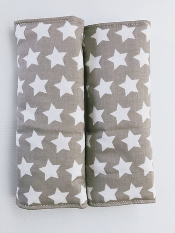 Grey And White Stars Baby Seat Belt Covers