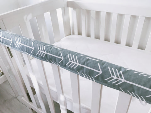 Grey and White Arrows Teething Rail Cover