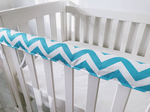 Blue and White Chevron Teething Rail Cover