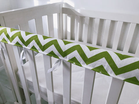 Lime Green and White Chevron Teething Rail Cover