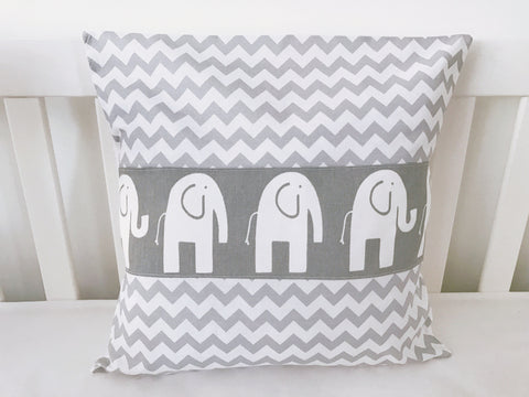 Grey and White Chevron Elephant Cushion Cover