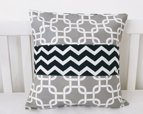 Grey White Lattice and Navy Chevron Cushion Cover