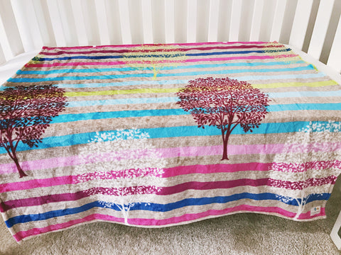 Soft Plush Colourful Autumn Trees Coral Fleece Blanket