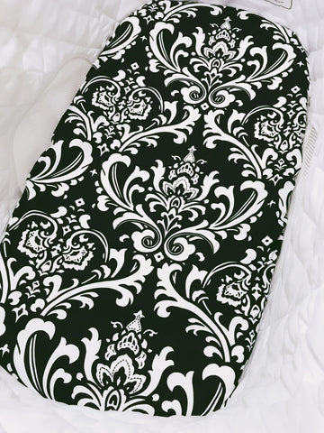 Black and White Damask Bassinet Fitted Sheet