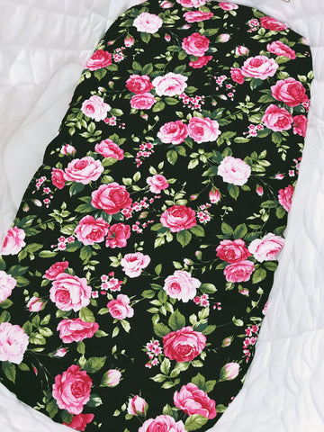 Floral on Black Bassinet Fitted Sheet