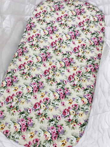 Small Floral on Beige Bassinet Fitted Sheet