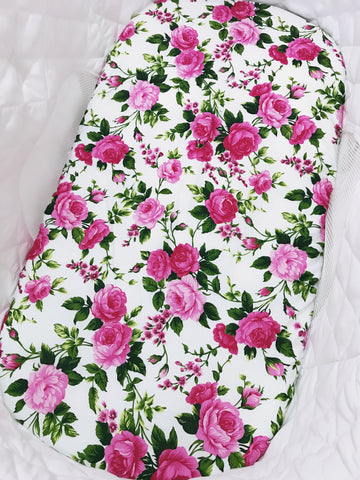 Pink Floral on White Bassinet Fitted Sheet