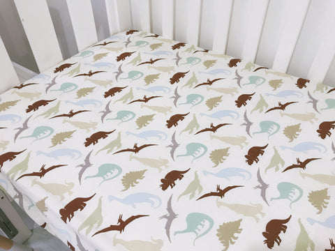 Vintage Dinosaurs Cot Fitted Sheet