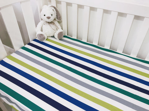 Blue and Green Stripes Cot Fitted Sheet