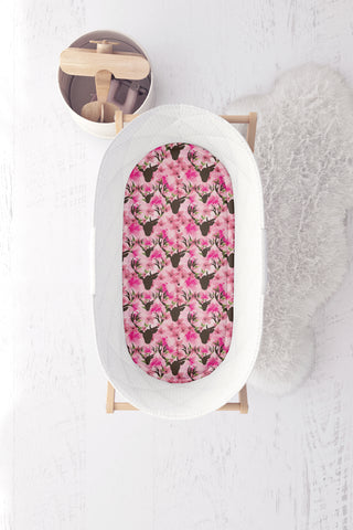 Pink Floral Deers Bassinet Fitted Sheet