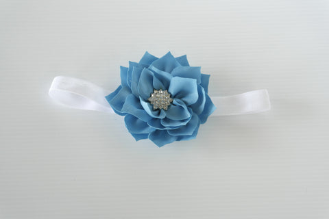 Blue Chiffon Flower with Diamontes headband