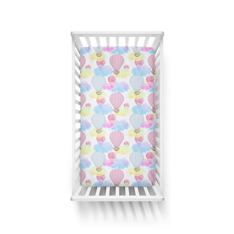 Watercolour Hot Air Balloons Cot Fitted Sheet