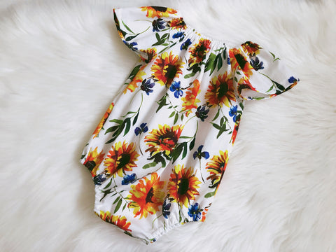 Sunflowers White Seaside Playsuit