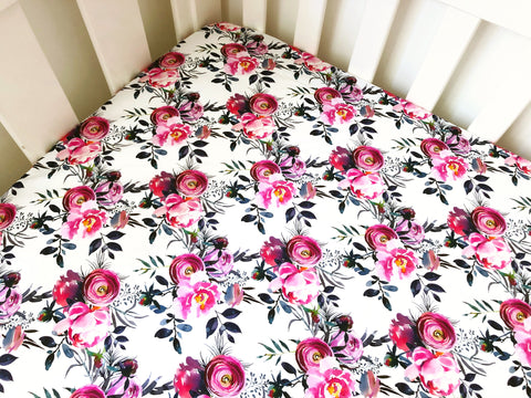 Blush and Grey Floral Cot Fitted Sheet