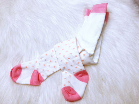 Pink And White Polka Dot Tights