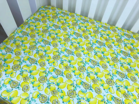 Yellow Lemons on White Cot Fitted Sheet