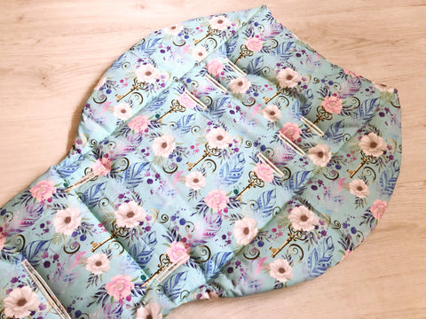 Feathers Florals and Keys Blue Universal Pram Liner