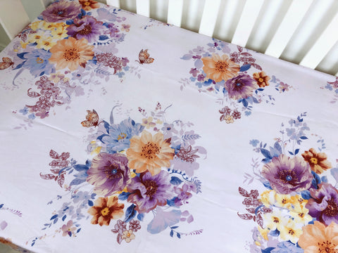 Violet Floral Cot Fitted Sheet