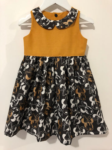 Black and Metallic Gold Minnie Tea Party Dress