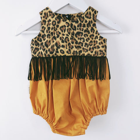 Leopard and Mustard Baby Tea Party Playsuit