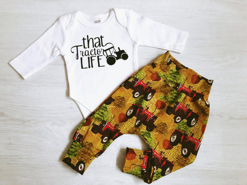 That Tractor Life 2 Piece Bodysuit and Harem Pants set