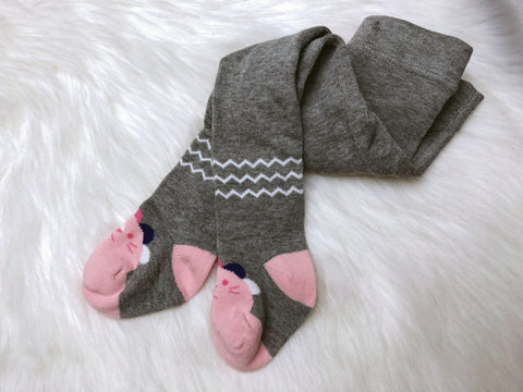 Pink And Grey Lion Toes Tights