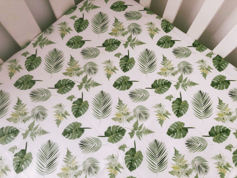 Green Monstera and Palm Leaves Cot Fitted Sheet