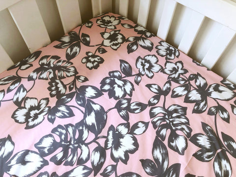 Grey and White Floral on Pink Cot Fitted Sheet