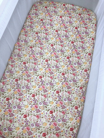 Lucy Beige Floral Bassinet Fitted Sheet