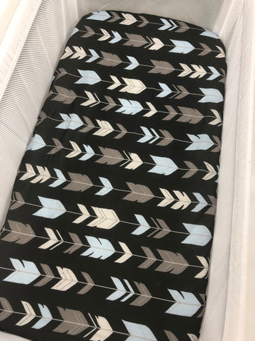 Blue And Grey Herringbone On Black Bassinet Fitted Sheet