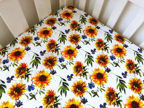 Sunflower White Floral Cot Fitted Sheet