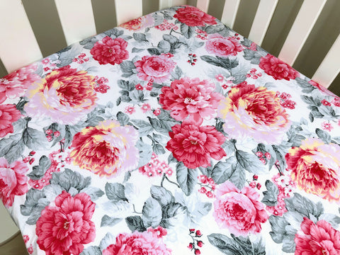 Jessica Pink Floral Cot Fitted Sheet