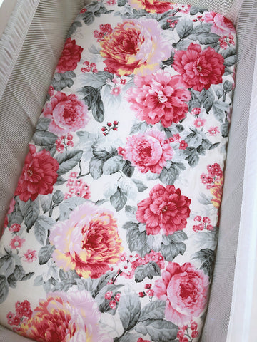 Jessica Pink Floral Bassinet Fitted Sheet