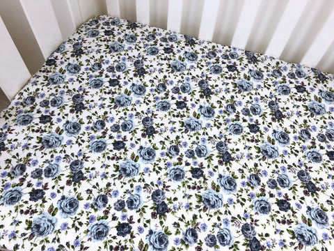 Audrey Vintage Blue Cot Fitted Sheet