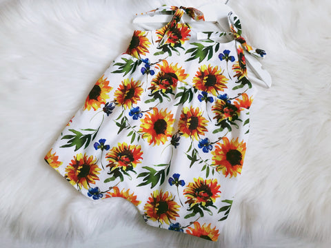 Sunflowers White Shoulder Tie Romper