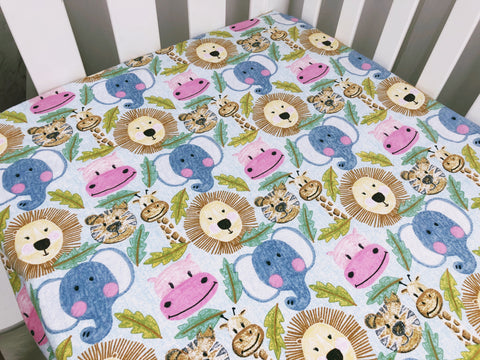 Jungle Animals Flannel Cot Fitted Sheet