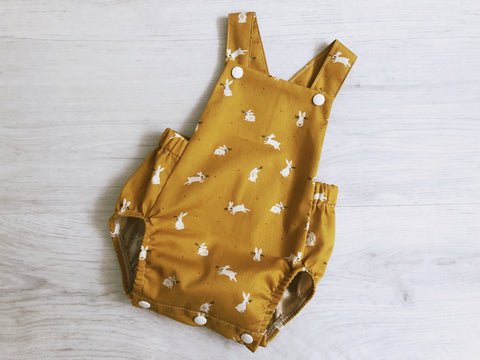 Bunnies on Mustard Summer Romper