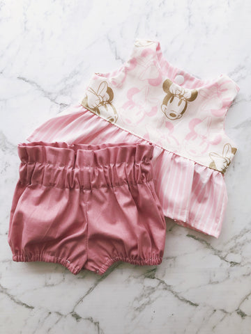 Pink Metallic Minnie Peplum Top & High Waist Bubble Shorts Set
