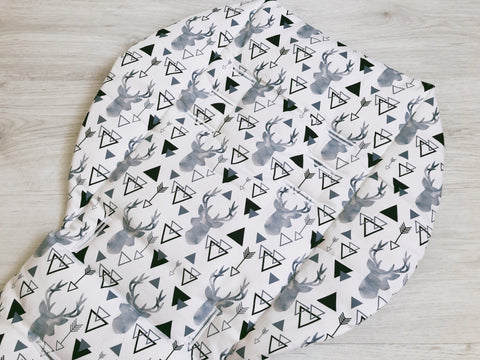 Grey Geometric Deer Heads Universal Pram Liner