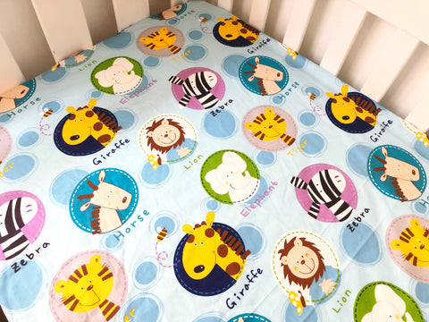 Baby Jungle Animals Cot Fitted Sheet