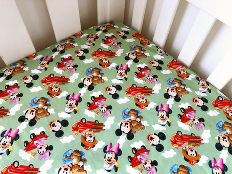 Baby Mickey and Minnie Cot Fitted Sheet