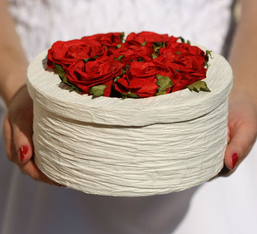 Handmade Rose Floral Box - Large Round