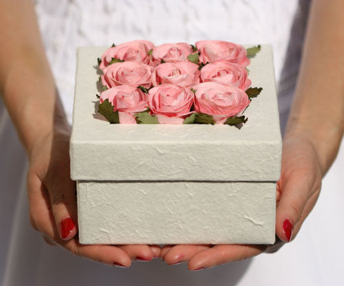 Handmade Rose Floral Box - Large Square