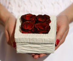 Handmade Rose Floral Box - Small Square